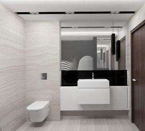 Wizualizacja łazienki z wiszącą szafką pod umywalką i dużym lustrem