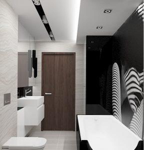 Wizualizacja beżowej łazienki z czarnymi dodatkami