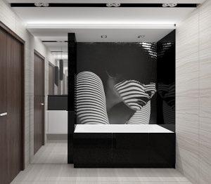 Wizualizacja łazienki z czarną zabudową wanny i lustrzaną szafką