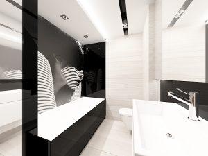 Wizualizacja beżowej łazienki z biało-czarną grafiką