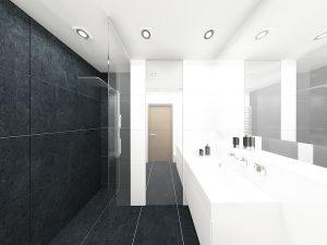 Wizualizacja biało-czarnej łazienki z prysznicem typu walk-in