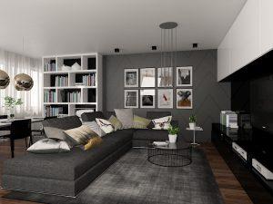 Wizualizacja salonu z ciemnoszarą ścianą i biało-czarnymi meblami