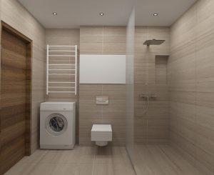 Wizualizacja łazienki z prysznicem i wolnostojącą pralką