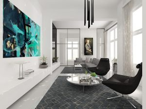 Wizualizacja luksusowego salonu w stylu nowoczesnym