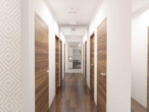 Wizualizacja holu z drewnianymi drzwiami i podłogą
