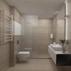 Wizualizacja łazienki w beżach z prysznicem z odpływem liniowym