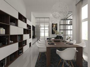 Wizualizacja nowoczesnego salonu z jadalnią i półkami na wymiar