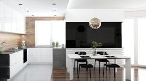 Wizualizacja otwartej kuchni z meblami w kształcie litery L