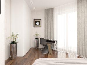 Wizualizacja sypialni z półokrągłym oknem i toaletką