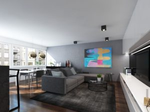 Wizualizacja nowoczesnego salonu z zabudową ściany z tv