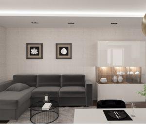 Wizualizacja salonu z podświetlonym sufitem i szafkami