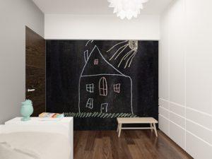 Wizualizacja pokoju dziecięcego ze ścianą pomalowaną farbą tablicową