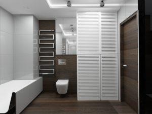 Wizualizacja łazienki z szafą na wymiar z ażurowymi drzwiami