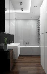 Wizualizacja nowoczesnej łazienki z prostokątną wanną