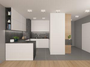 Wizualizacja biało-grafitowej kuchni otwartej na salon