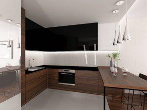 Wizualizacja kuchni w stylu nowoczesnym z meblami w fornirze i czarnym połysku, w kształcie litery L