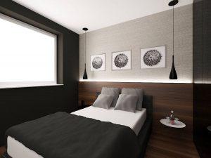 Wizualizacja sypialni z łóżkiem małżeńskim z podświetlanym zagłówkiem