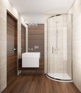 Wizualizacja łazienki z płytkami w kolorze drewna z wysokim lustrem