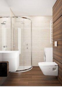 Wizualizacja łazienki w brązach z półokrągłą kabiną prysznicową