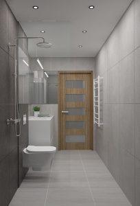 Szara łazienka w stylu minimalistycznym