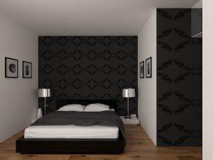 Wizualizacja sypialni z łóżkiem małżeńskim i ciemną tapetą