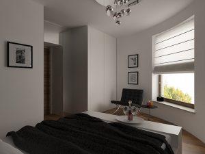 Wizualizacja sypialni z półokrągłą ścianą i szafą na wymiar