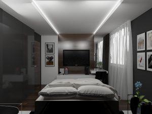 Wizualizacja sypialni z ciemnymi ścianami i wiszącym tv