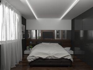 Wizualizacja sypialni z zabudową na wymiar i podświetleniem sufitu