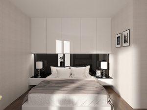 Wizualizacja biało-czarnej sypialni z zabudową na wymiar