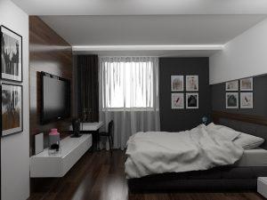 Wizualizacja sypialni z łóżkiem małżeńskim i toaletką