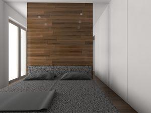 Wizualizacja sypialni z wysokim oknem i zabudową na wymiar