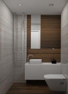 Wizualizacja toalety z płytkami w kolorze drewna