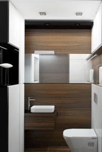 Wizualizacja toalety w stylu nowoczesnym z poziomym lustrem i małą umywalką