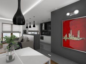 Wizualizacja salonu otwartego na kuchnię z wysokim barkiem