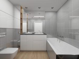 Wizualizacja szarej łazienki z białą zabudową na wymiar