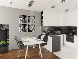 Wizualizacja nowoczesnej, biało-czarnej kuchni z barkiem