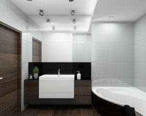 Wizualizacja łazienki z narożną wanną w ciemnej zabudowie