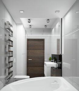 Wizualizacja łazienki z wanną narożną