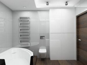 Wizualizacja łazienki w stylu minimalistycznym z grzejnikiem o nowoczesnej formie