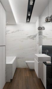 Wizualizacja łazienki z zabudową na wymiar i podświetleniami