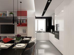 Wizualizacja otwartej kuchni z białymi, lakierowanymi frontami, w kształcie litery L