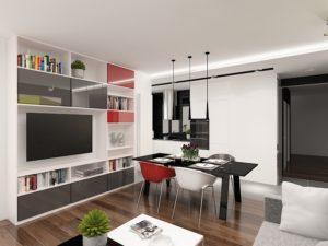 Wizualizacja nowoczesnego salonu z zabudową ściany z TV na wymiar