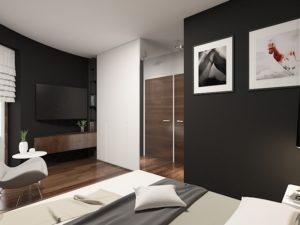 Wizualizacja nowoczesnej sypialni z ciemnymi ścianami i TV