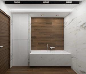 Wizualizacja łazienki z płytkami w odcieniu marmuru i drewna
