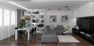 Wizualizacja salonu z zabudową meblową i stołem na cztery osoby według indywidualnego projektu