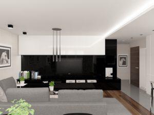 Wizualizacja salonu z biało-czarną zabudową ściany z TV