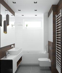 Wizualizacja łazienki z płytkami w kolorze drewna