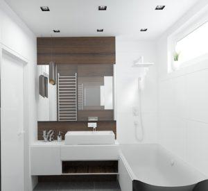 Wizualizacja łazienki z dużą wanną i umywalką nablatową