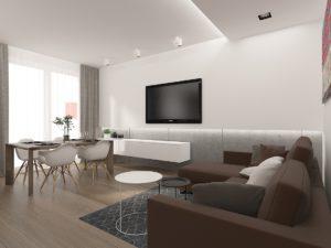 Wizualizacja salon z zabudową TV oraz sufitu z podświetleniem
