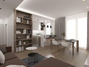 Wizualizacja salonu z aneksem kuchennym i dużymi oknami balkonowymi